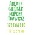 set of hand drawn abc letters and figurestextured vector image