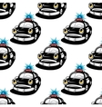 Seamless pattern with police car characters vector image