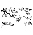 collection of tree silhouette with bird vector image