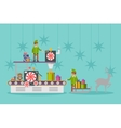 Elf factory or elves workshop toy production line vector image