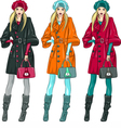 fashion girls in a coat vector image