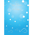 Fishes and bubbles background vector image