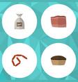 flat icon food set of tart sack bratwurst and vector image