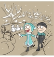Lovers man and woman walk in winter park Loving vector image
