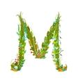 Letter M Flower calligraphy floral elegant vector image