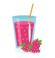 Raspberry juice in a glass Fresh isolated on vector image
