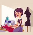 smiling woman designer character sews clothes vector image