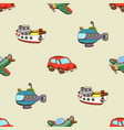 seamless pattern with ship car and plane vector image