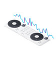 dj mixer panel turntables and wave equalizer vector image