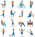 Physical activity icons vector image