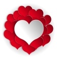Paper red hearts background vector image vector image