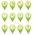 Set of 12 sport GREEN map pointer vector image