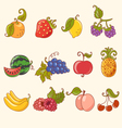 cartoon fruit set vector image vector image