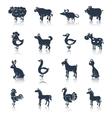 Farm animals set black vector image