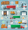 freight road trucking logistics and management set vector image