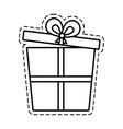 Gift box ribbon birthday event open cut line vector image