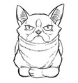 gloomy cartoon cat sitting vector image