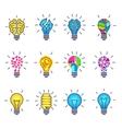 Light bulb idea creative icons vector image