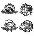 Vintage Food truck emblems vector image