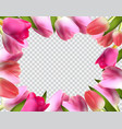 beautiful pink realistic tulip frame vector image