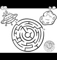 maze with ufo coloring page vector image