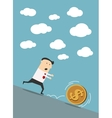Businessman chasing dollar coin in cartoon style vector image vector image