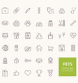 Pets Outline Icons for web and mobile apps vector image