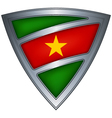 steel shield with flag suriname vector image vector image