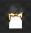 burning paper sheet a4 edges close up isolated on vector image
