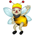 Cute bee cartoon thumb up vector image