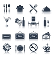 Restaurant icons set black vector image