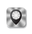 Metal square button with round pointer vector image vector image