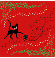 Black cat playing with ball of yarn vector image