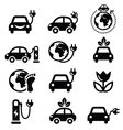 Electric car green or eco transport icons set vector image vector image