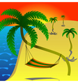 Hammock on palm vector image