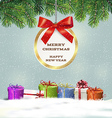 Congratulatory Christmas background with gifts vector image