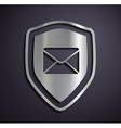 Flat metallic logo shield with envelope vector image