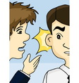 Guy whispering into man ear vector image