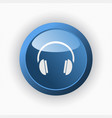 headphones icon on a blue button and white vector image