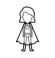 monochrome thick contour of standing faceless girl vector image
