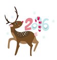 New Years invitation with happy Rudolph deer vector image