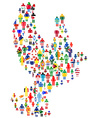 Peace concept with dove made of patterned people vector image