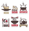 sushi tempura ramen tea doodle cartoon logo vector image