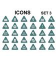 triangle metallic icons vector image vector image