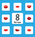 flat icon mouth set of pomade lipstick teeth and vector image