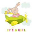 Baby Bunny on a Plane - Baby Shower Card vector image