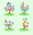 Four colorful tree vector image