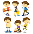 Boy poses vector image vector image