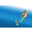 beautiful mermaid swim vector image