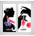 Beautiful woman silhouette watercolor cosmetics vector image